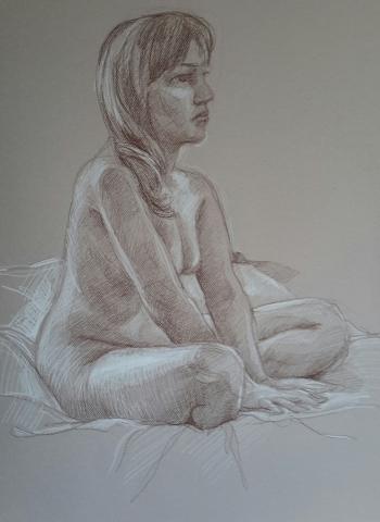Modèle vivant 11 : sépia et crayon blanc