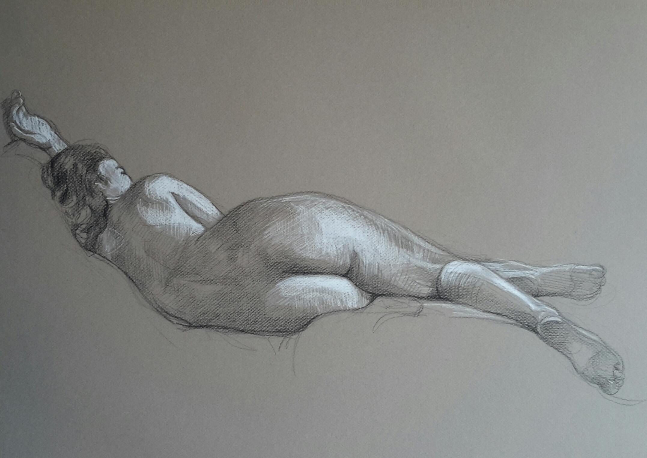 Modèle vivant 18 : pierre noire et crayon blanc