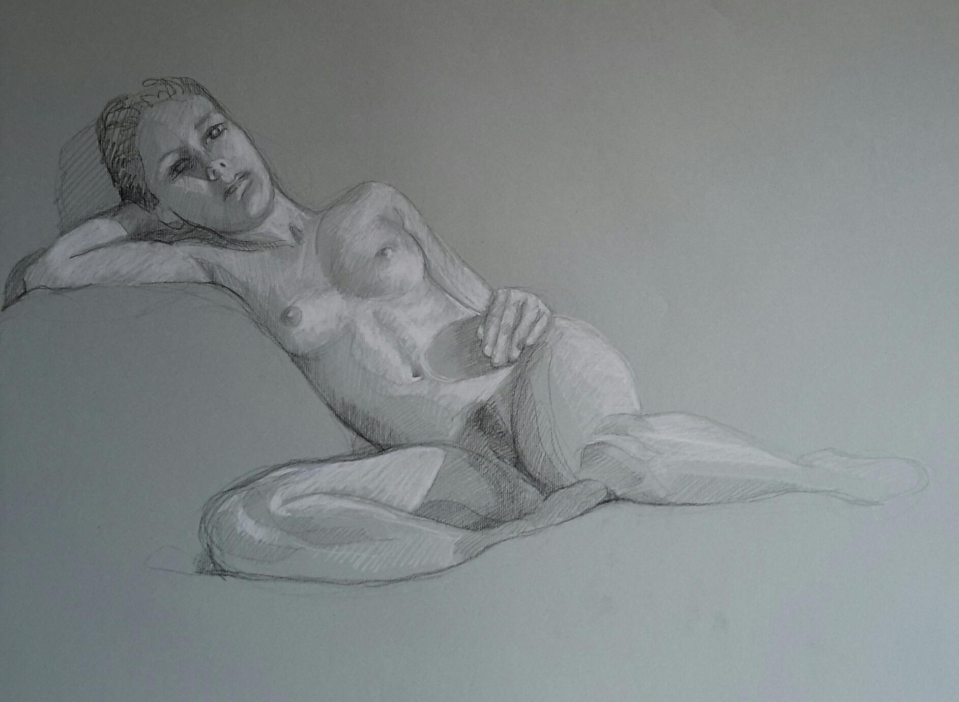 Modèle vivant 30 : pierre noire et crayon blanc