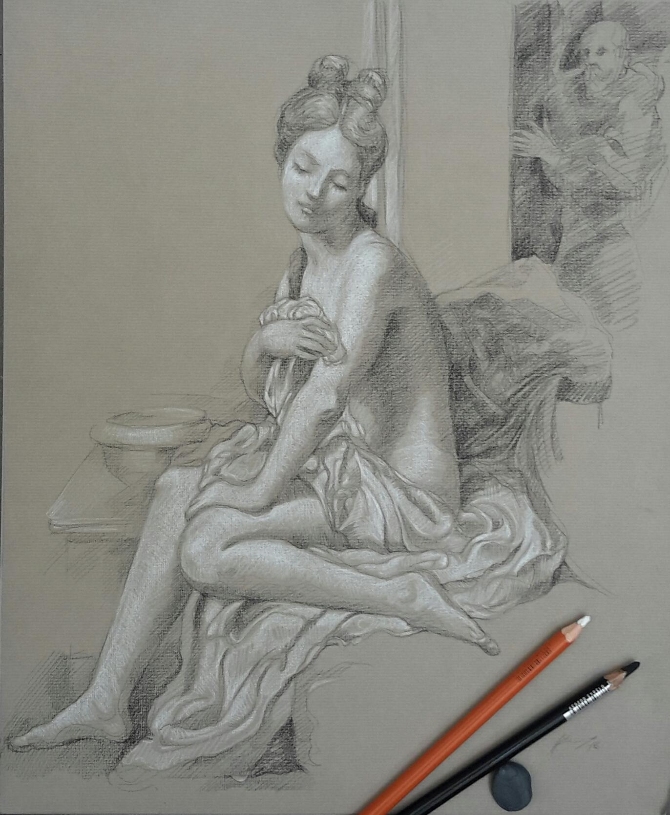 Suzanne au bain : pierre noire et crayon blanc
