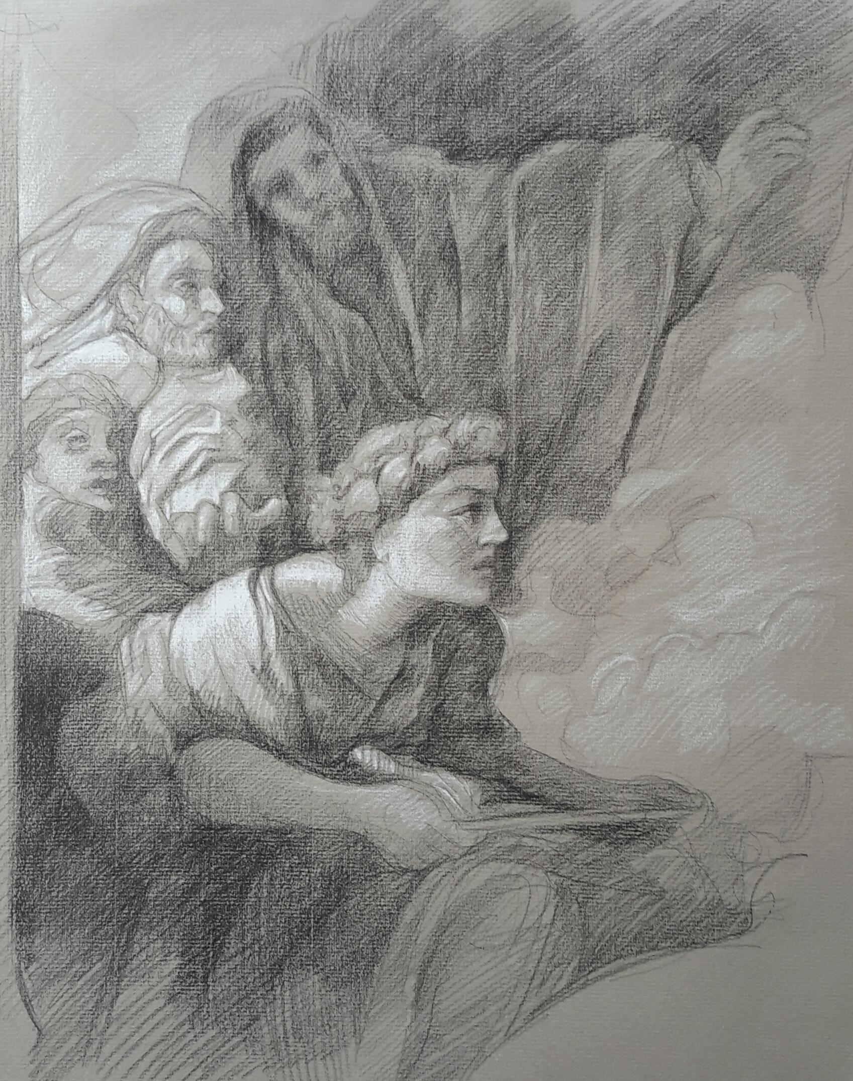 Le grand prêtre Corésus se sacrifie pour sauver Callirhoé pierre noire et crayon blanc