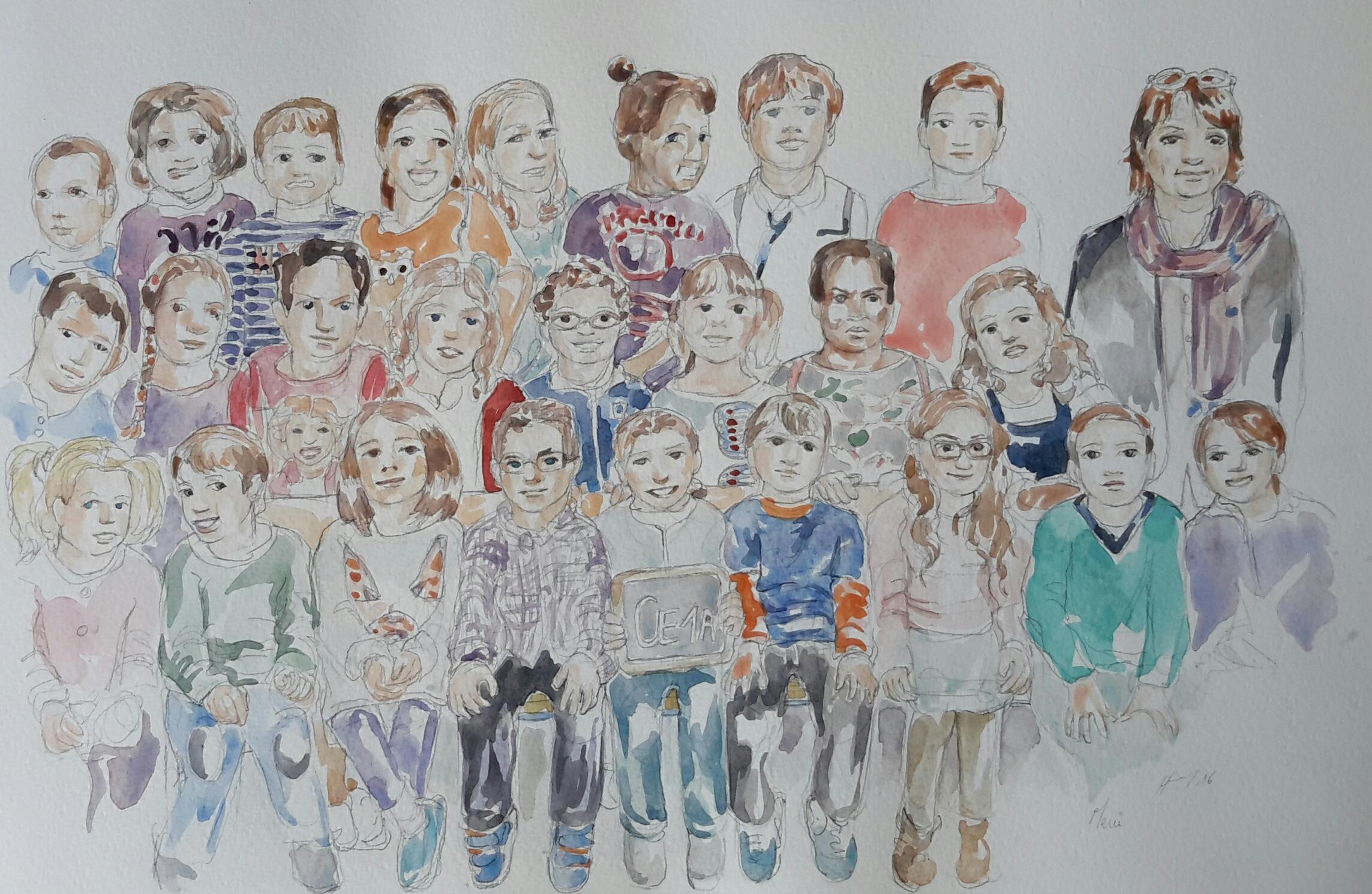 Charlie 5 classe : illustration aquarelle