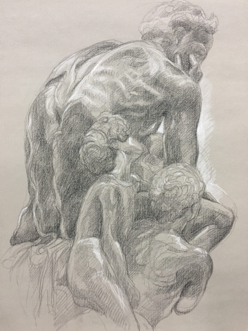 Ugolin 4 pierre noire et crayon blanc