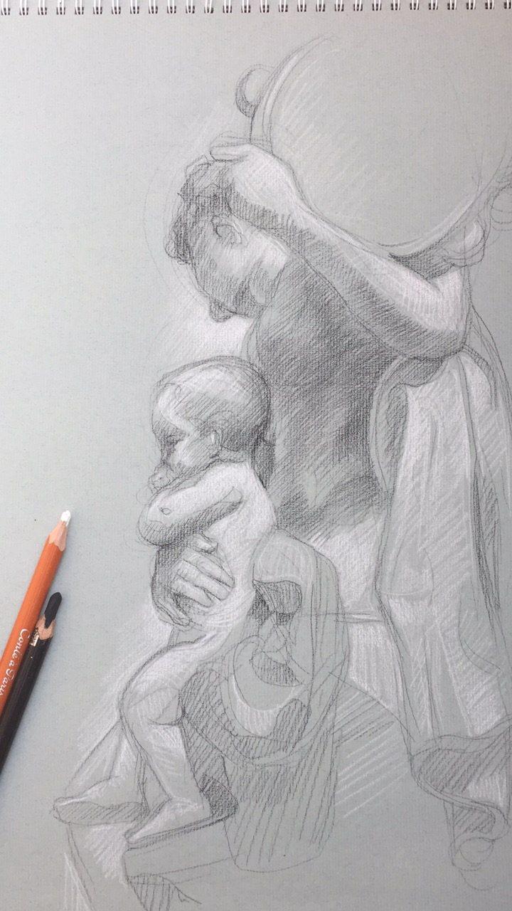 Bacchante au tambour de basque avec deux enfants 2 : pierre noire et crayon blanc