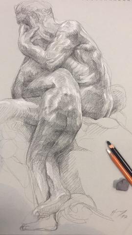 Ugolin 5 pierre noire et crayon blanc