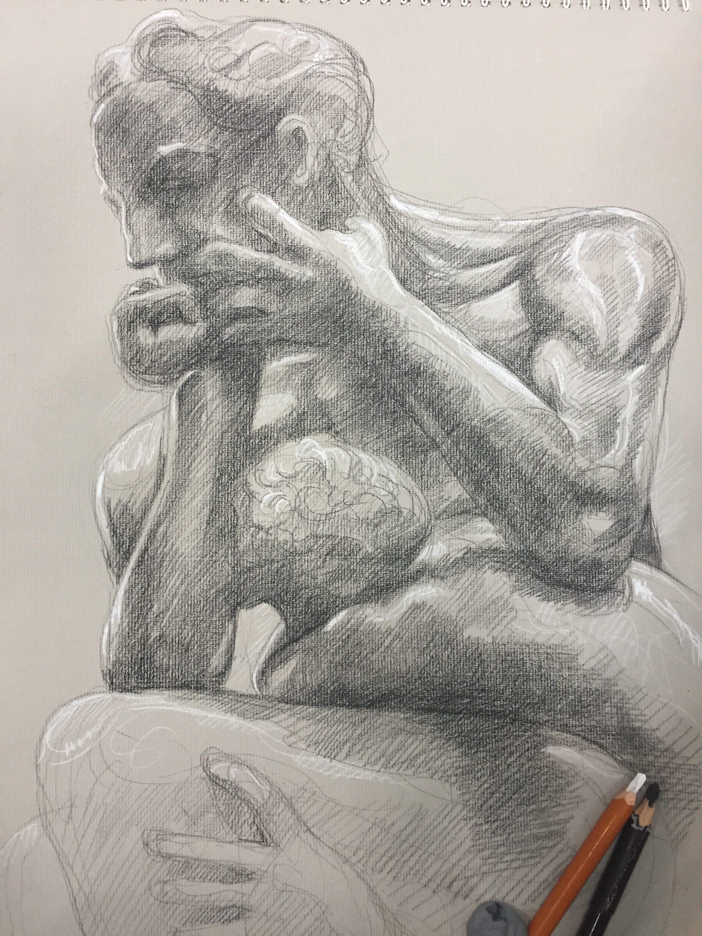 Ugolin 6 pierre noire et crayon blanc
