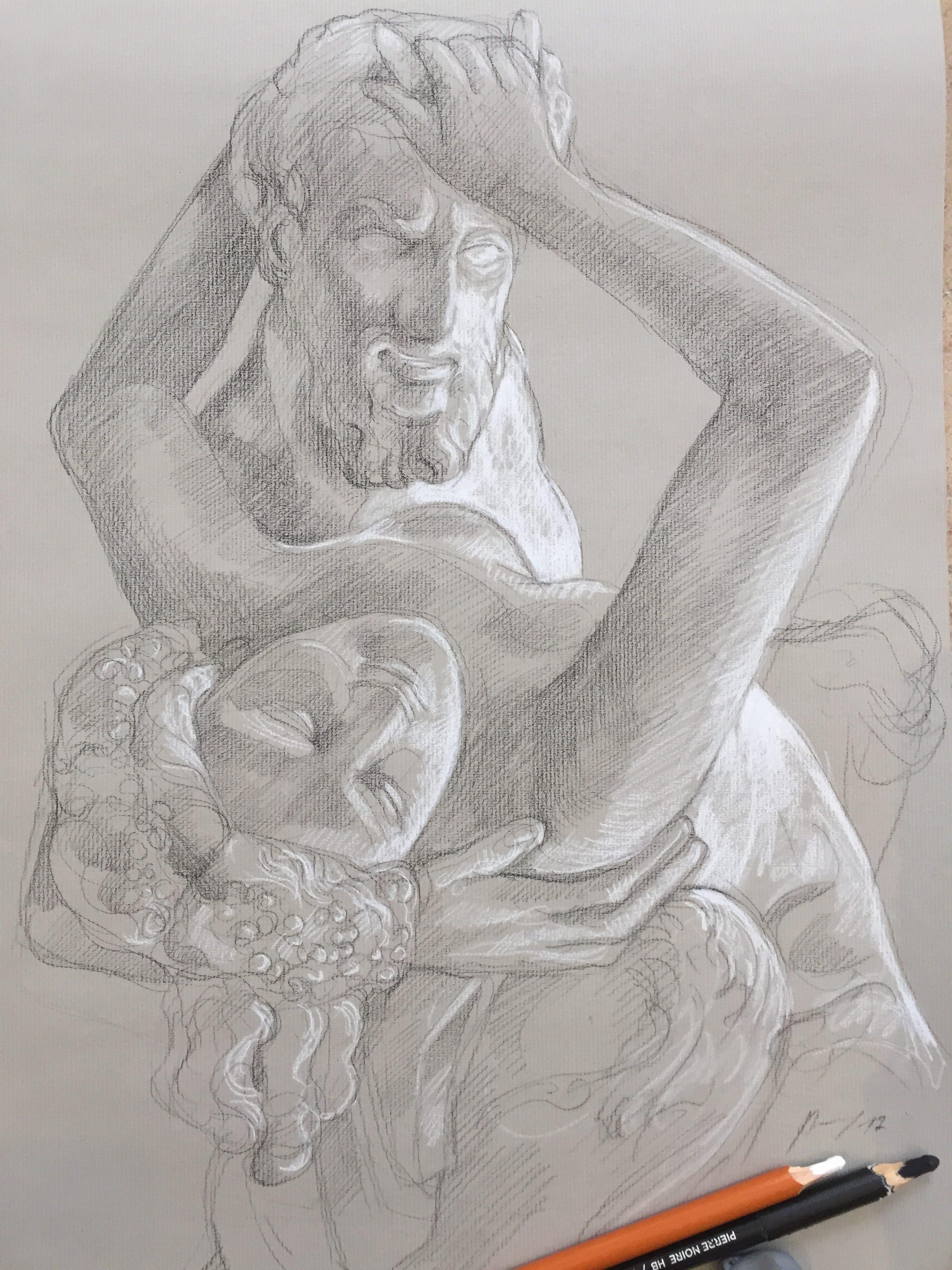 Satyre et Bacchante 5 pierre noire et crayon blanc