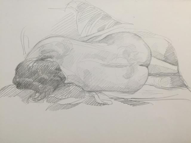 Modèle vivant 10 : croquis crayon graphite HB