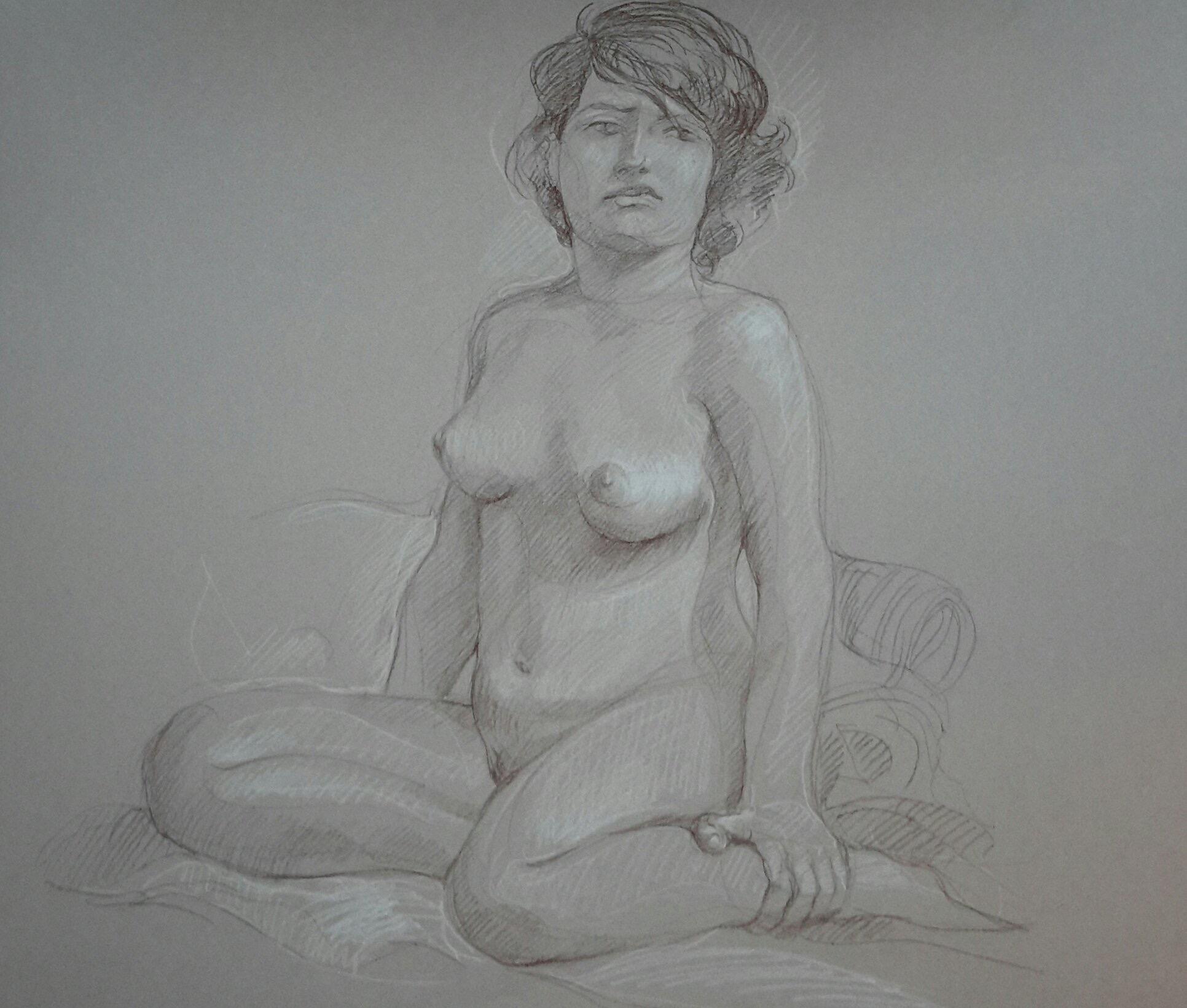 Modèle vivant 49 : pierre noire et crayon blanc