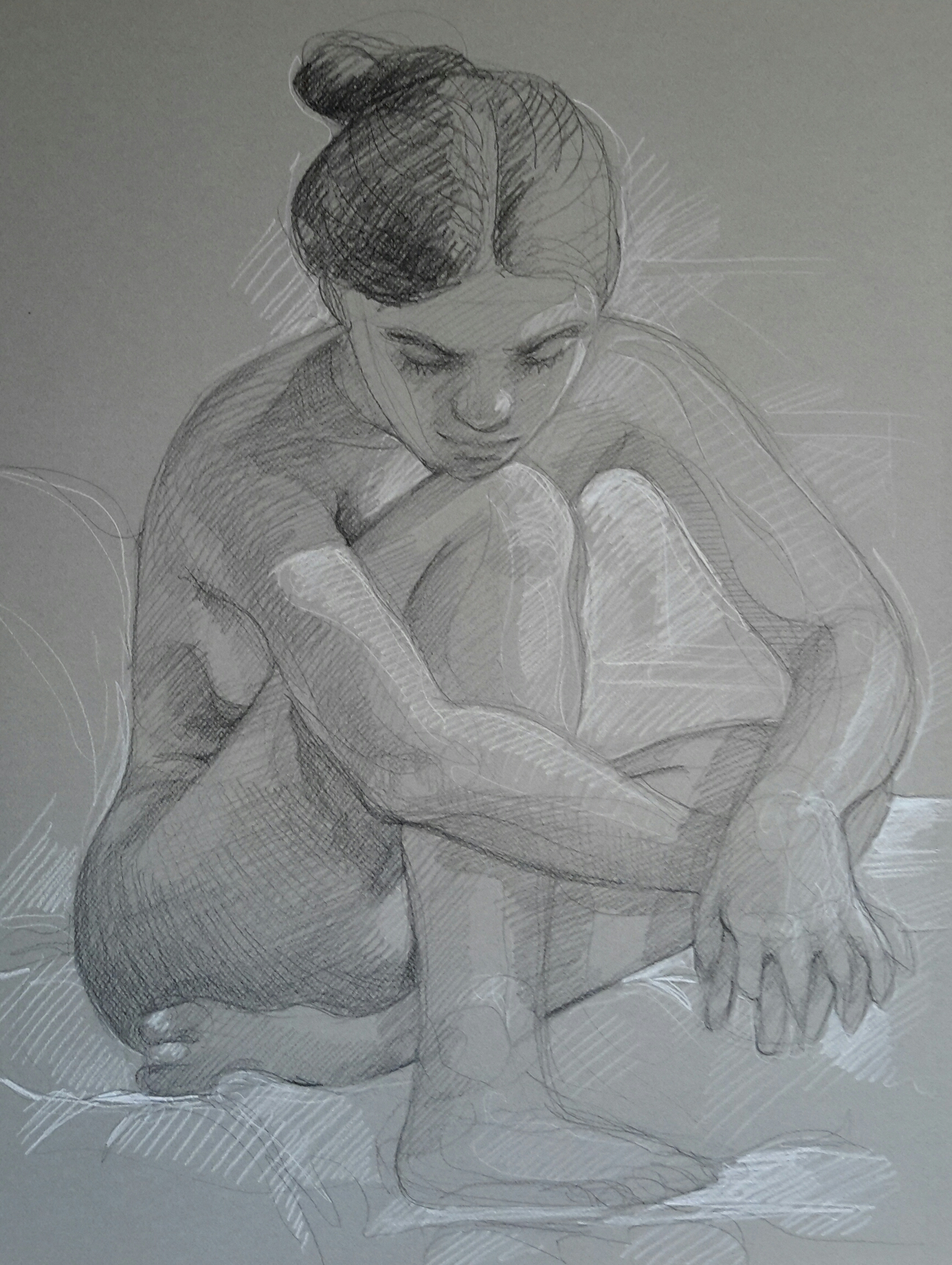 Modèle vivant 48 : pierre noire et crayon blanc