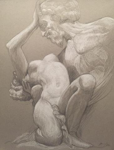 Satyre et Bacchante 6 pierre noire et crayon blanc