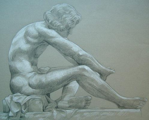 Le Désespoir 3 pierre noire et crayon blanc