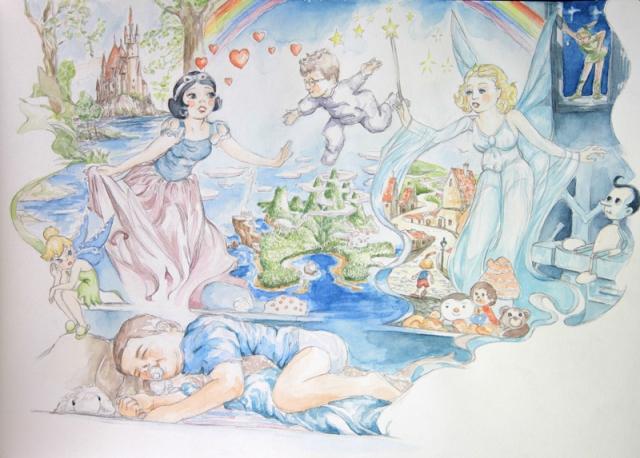 Charlie rêve : illustration aquarelle