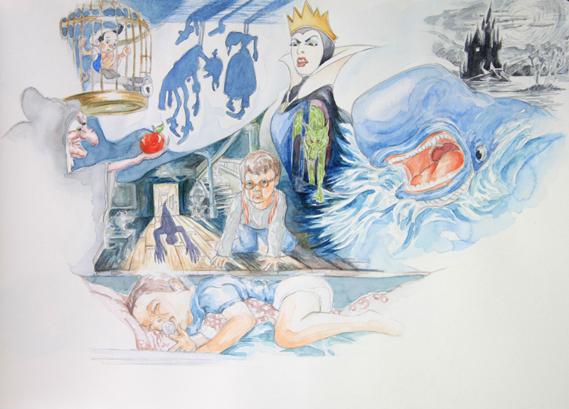 Charlie cauchemar : illustration aquarelle