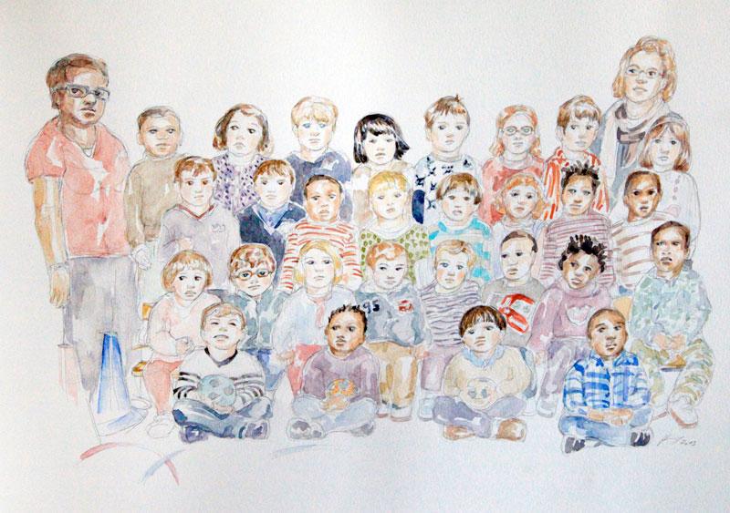 Charlie 2 classe : illustration aquarelle