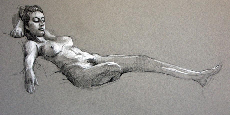 Modèle vivant 22 : pierre noire et crayon blanc