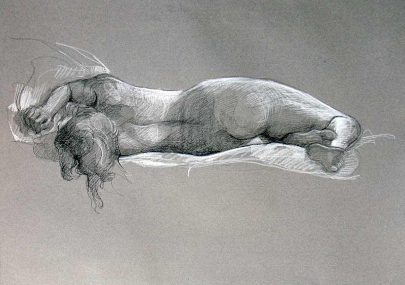 Modèle vivant 28 : pierre noire et crayon blanc