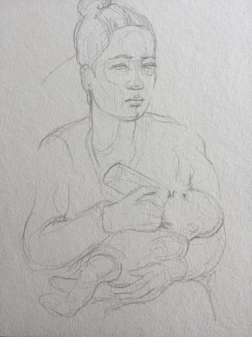 Portrait 3 : Bamako Mali crayon graphite HB