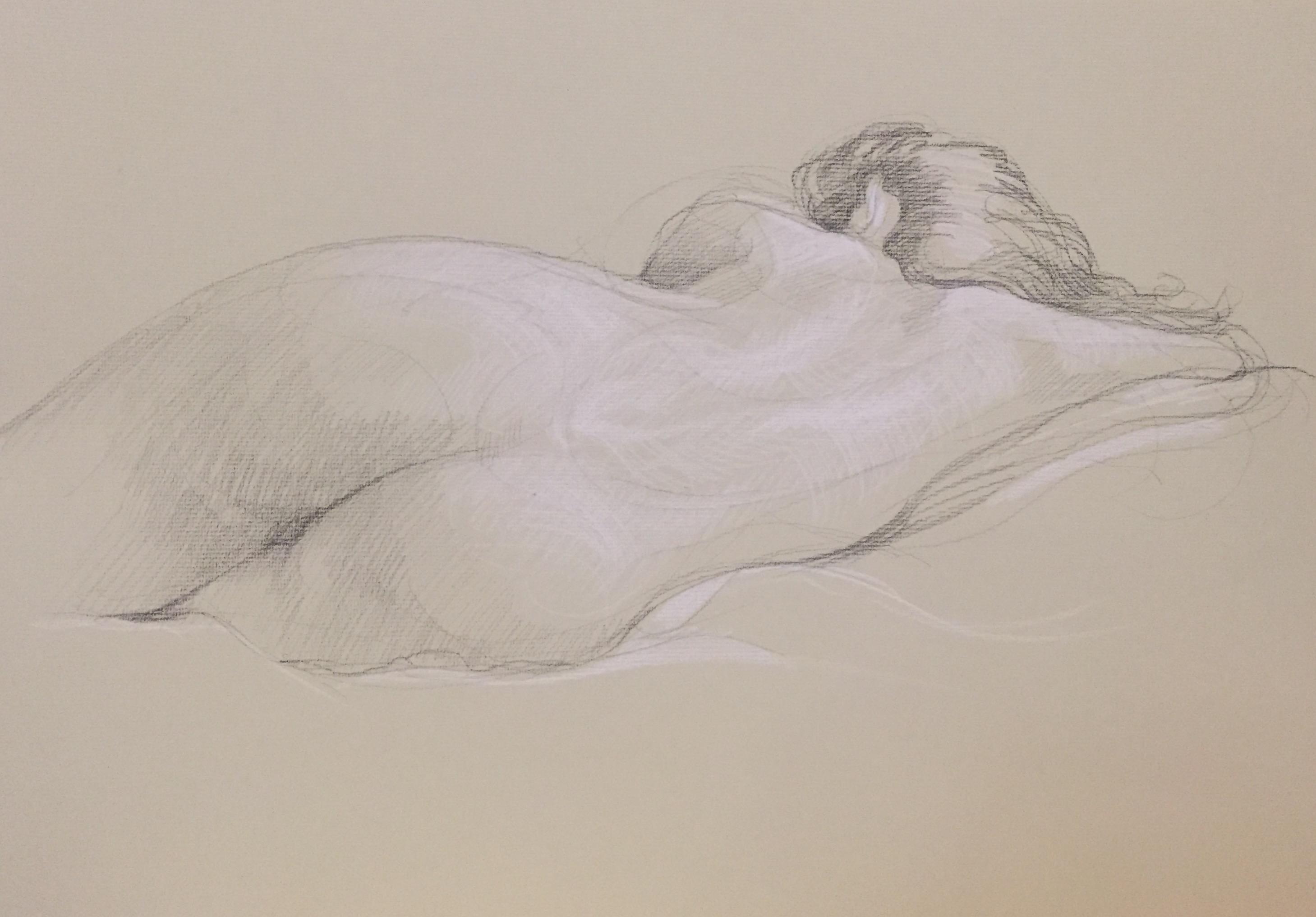 Modèle vivant 58 : pierre noire et crayon blanc