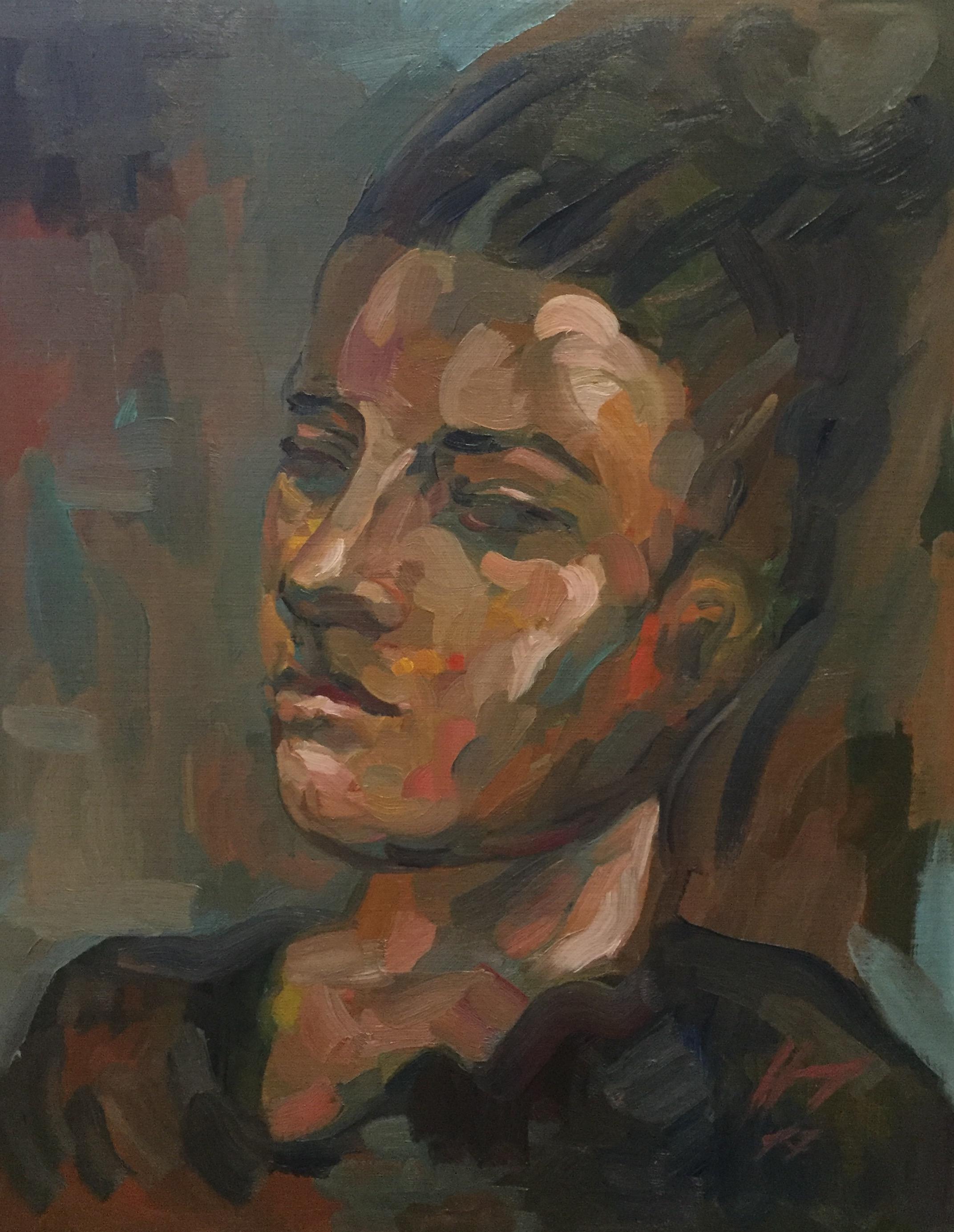 Portrait : Bamako Mali peinture à l'huile