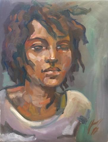 Portrait 3 : Bamako Mali peinture à l'huile