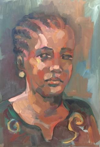 Portrait 5 : Bamako Mali peinture à l'huile