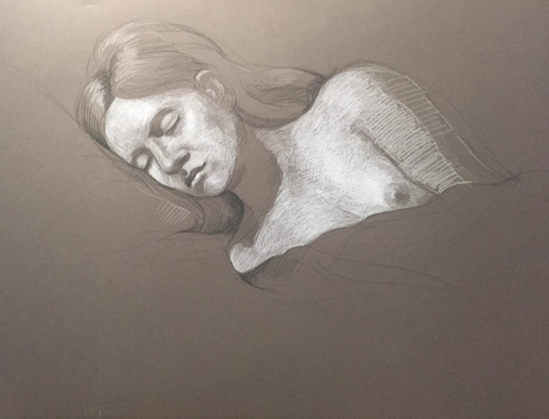 Modèle vivant 60 : pierre noire et crayon blanc
