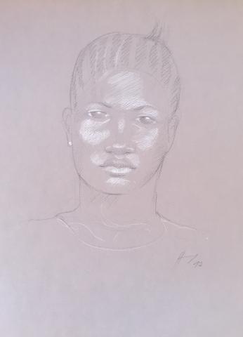 Portrait 9 : Bamako Mali pierre noire et crayon blanc