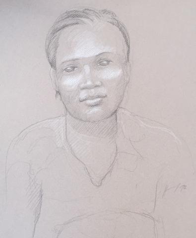 Portrait 11 : Bamako Mali pierre noire et crayon blanc