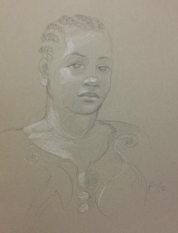 Portrait 15 : Bamako Mali pierre noire et crayon blanc