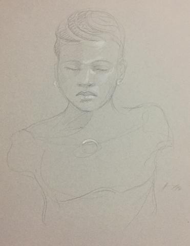 Portrait 7 : Bamako Mali pierre noire et crayon blanc