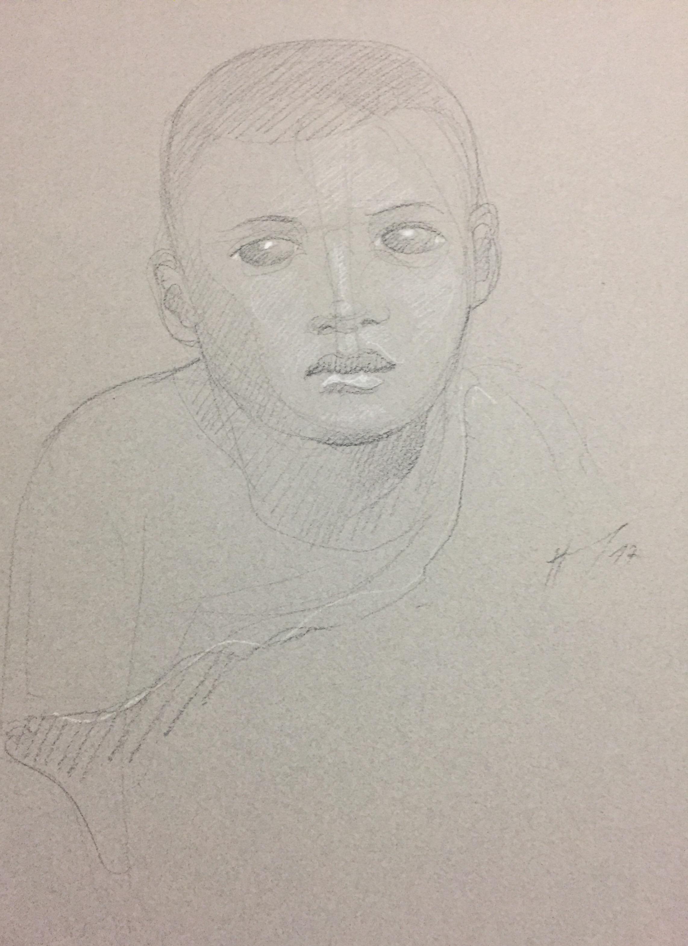 Portrait 16 : Bamako Mali pierre noire et crayon blanc