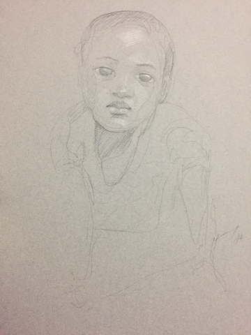 Portrait 14 : Bamako Mali pierre noire et crayon blanc