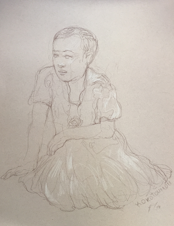 Portrait 9 : Bamako Mali sépia et crayon blanc