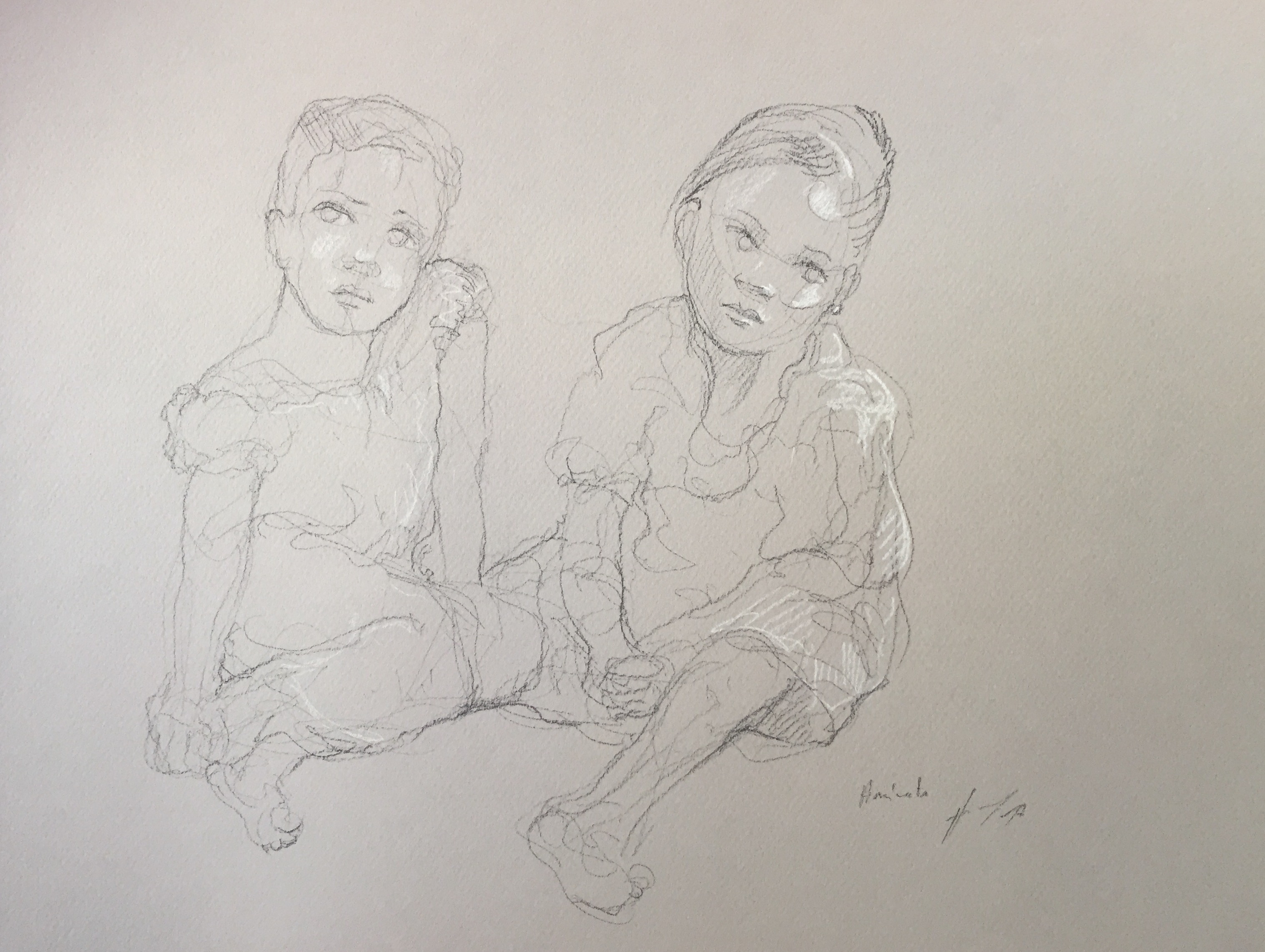 Portrait 12 : Bamako Mali pierre noire et crayon blanc