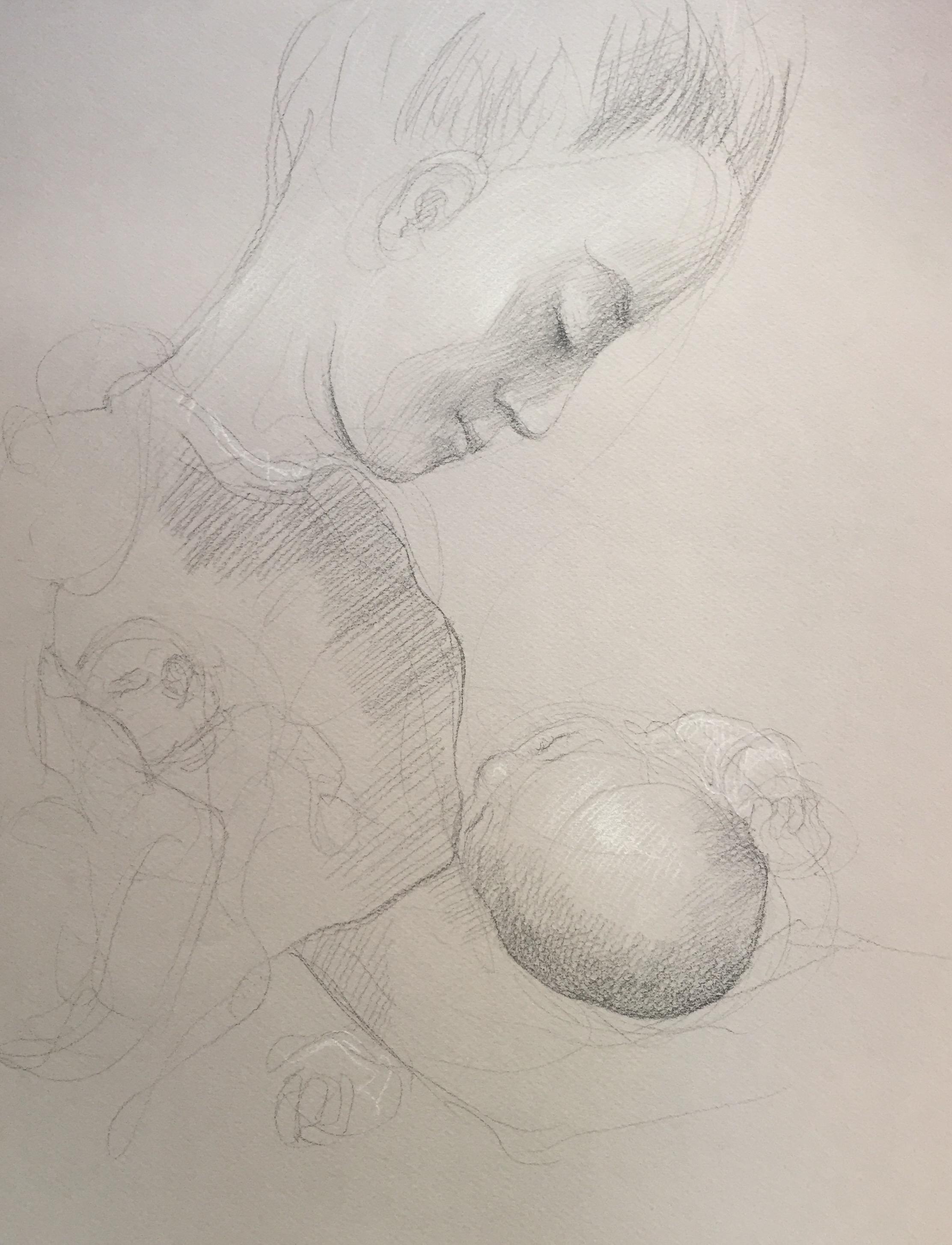 Portrait 13 : Bamako Mali pierre noire et crayon blanc