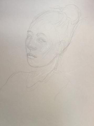 Portrait 10 : Bamako Mali pierre noire et crayon blanc