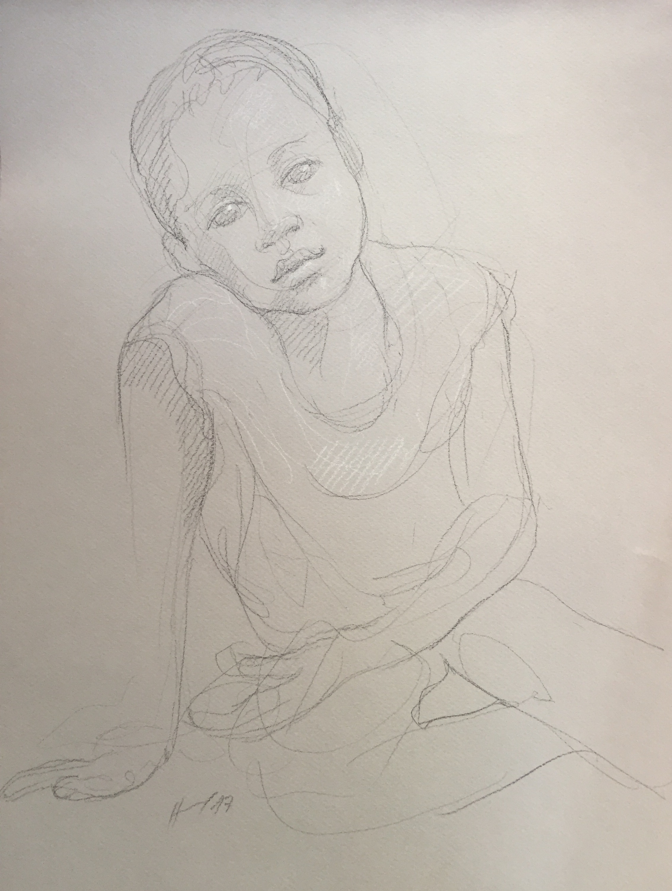 Portrait 2 : Bamako Mali pierre noire et crayon blanc
