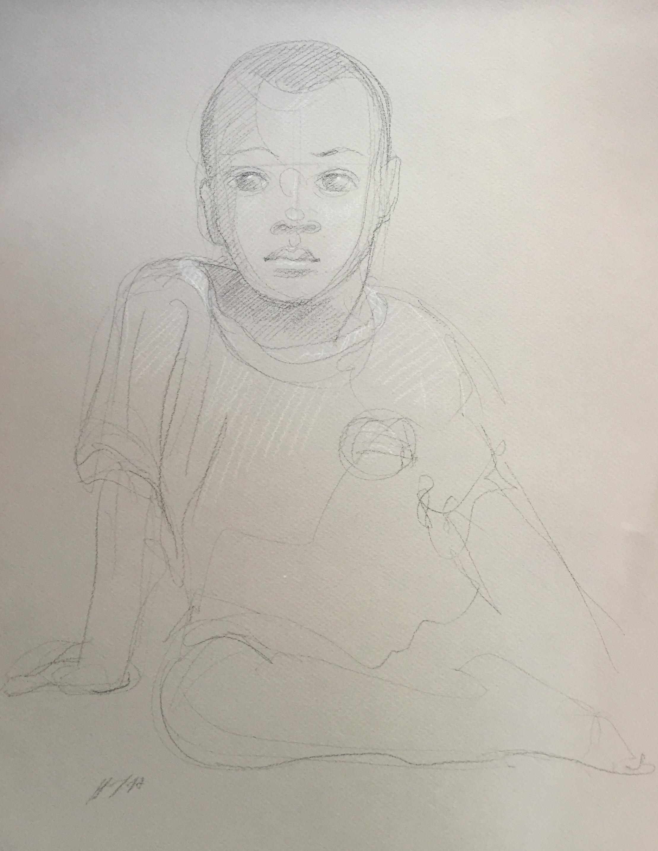 Portrait 3 : Bamako Mali pierre noire et crayon blanc