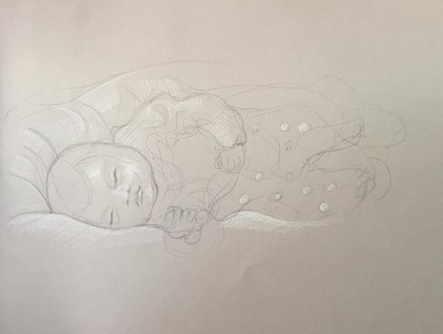 Portrait : Bamako Mali pierre noire et crayon blanc