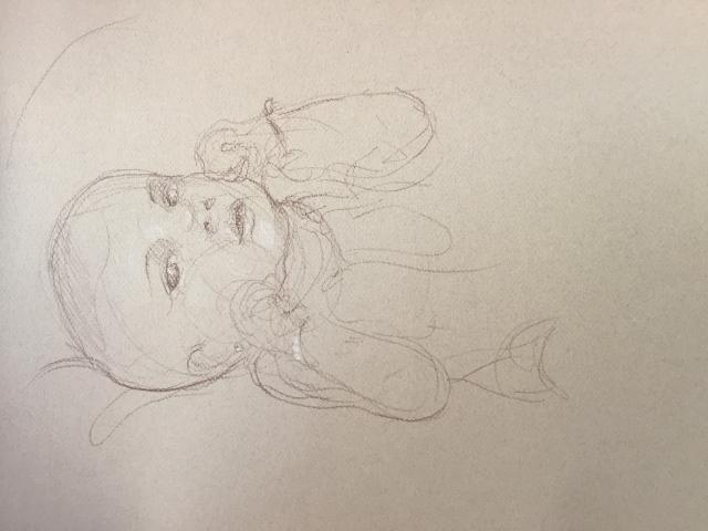 Portrait 8 : Bamako Mali sépia et crayon blanc