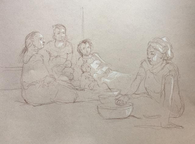 Portrait 5 : Bamako Mali sépia et crayon blanc