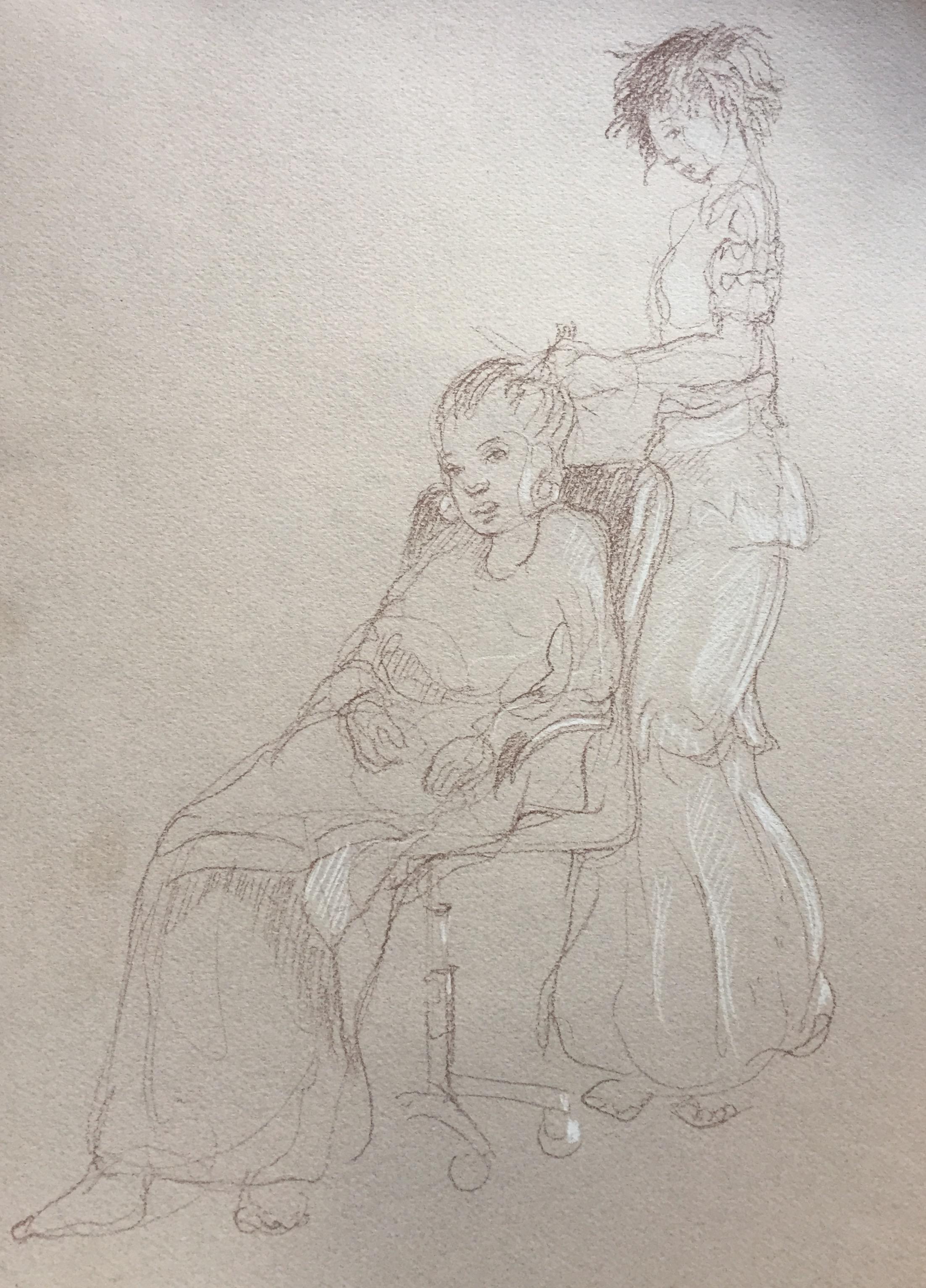 Portrait 6 : Bamako Mali sépia et crayon blanc