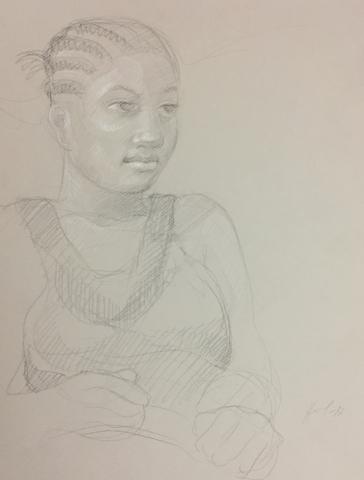 Portrait 5 : Bamako Mali pierre noire et crayon blanc