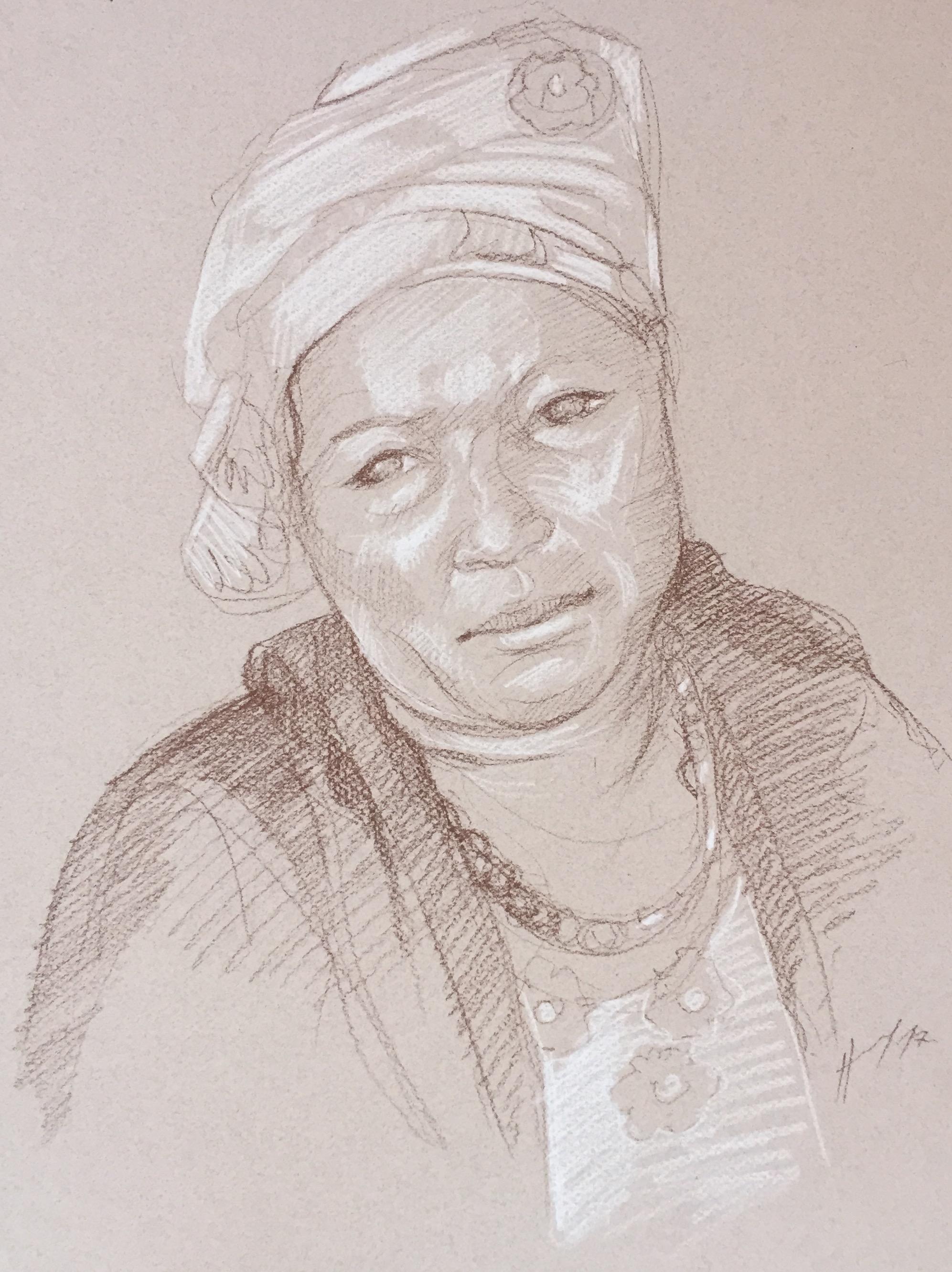 Portrait : Bamako Mali sépia et crayon blanc
