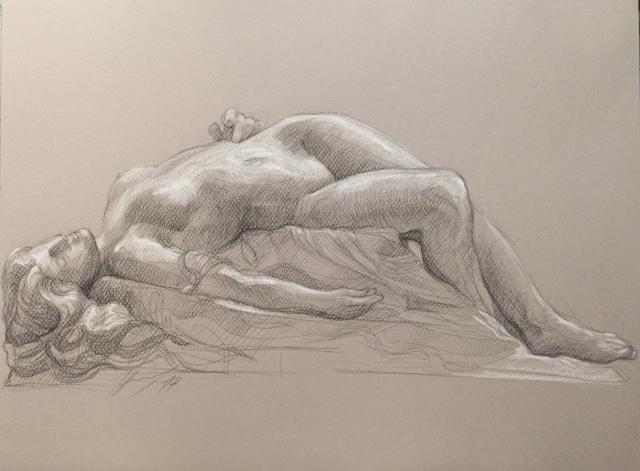 La Jeune Tarentine 4 pierre noire et crayon blanc