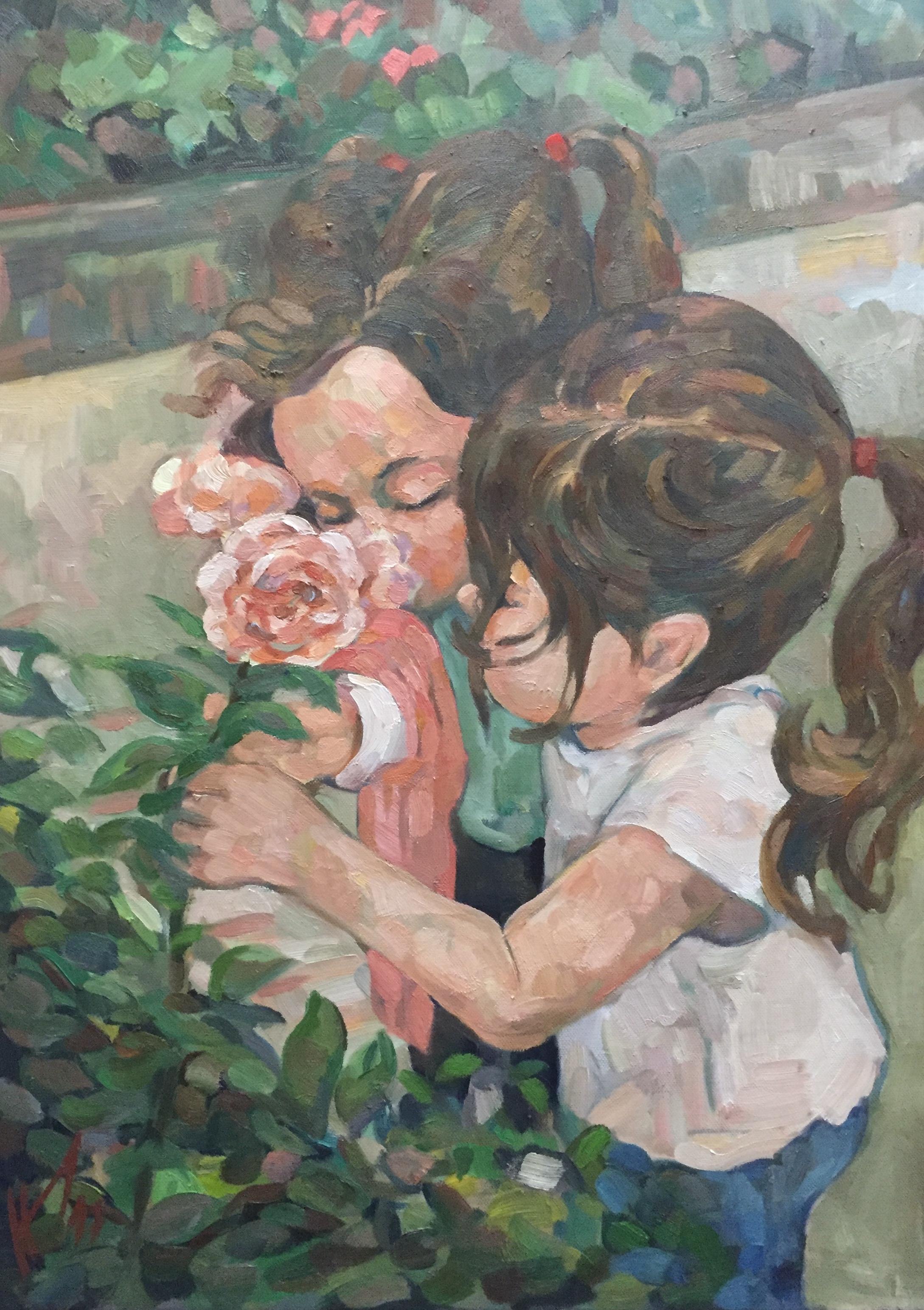 Les trois roses peinture à l'huile