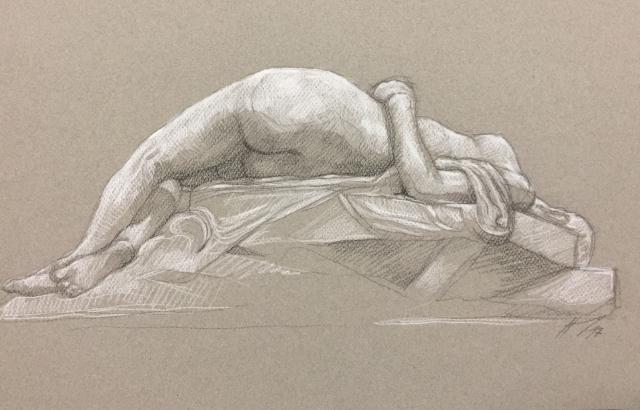 La Jeune Tarentine pierre noire et crayon blanc