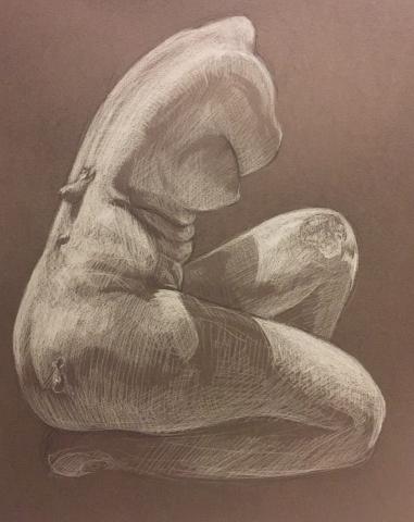 Aphrodite accroupie pierre noire et crayon blanc