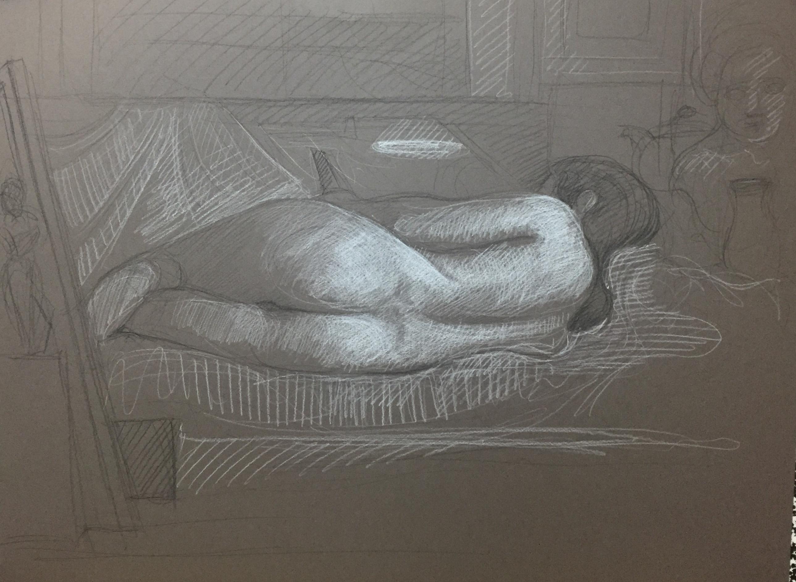 Modèle vivant 75 : pierre noire et crayon blanc